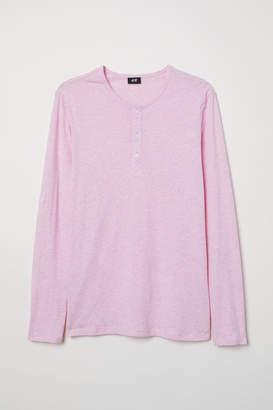 H&M Cotton Jersey Henley Shirt - Pink