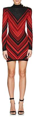 Balmain Women's Metallic Chevron-Knit Dress