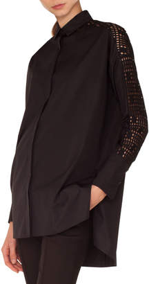 Akris Punto Long-Sleeve Button-Front Tunic Blouse with Lace Sleeve & Back
