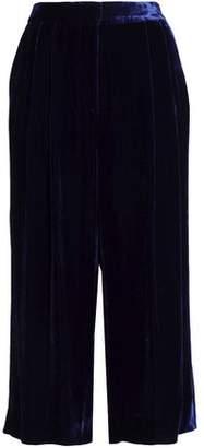 Tibi Cropped Velvet Wide-Leg Pants