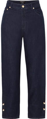 Mother of Pearl Faux Pearl-embellished High-rise Straight-leg Jeans - Dark denim