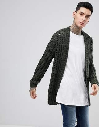 Asos DESIGN Chunky Stitch Textured Cardigan In Khaki
