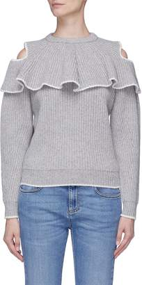 Alexander McQueen Ruffle yoke wool-cashmere cold shoulder sweater