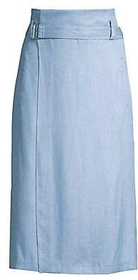 Tibi Women's Chambray Drape Wrap Skirt
