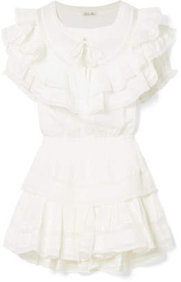 LoveShackFancy Liv Ruffled Crocheted Lace-trimmed Cotton Mini Dress - White