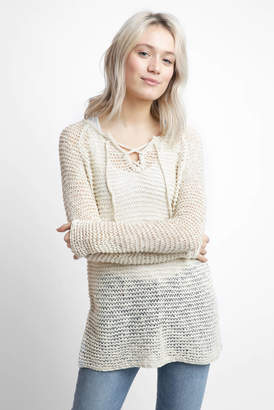 Neely Long Sleeve Tape Yarn Lace Up Top