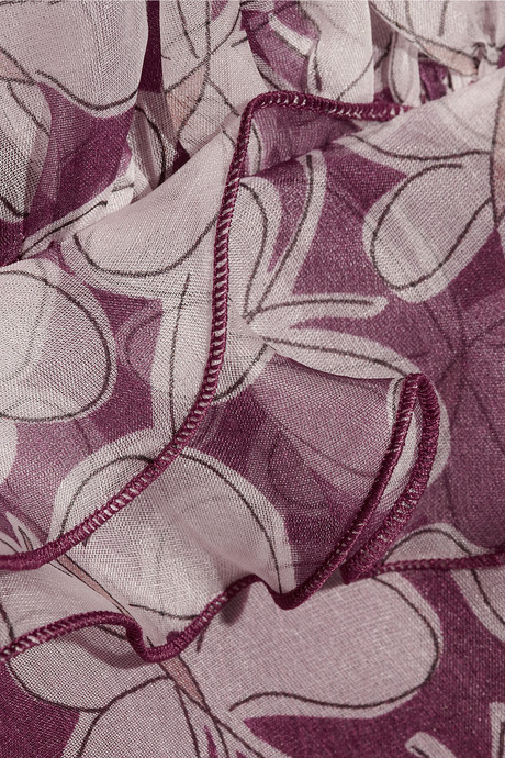 Ruffled butterfly-print silk-organza dress