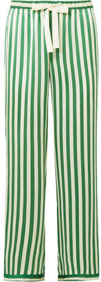 Morgan Lane - Chantal Striped Silk-charmeuse Pajama Pants - Emerald