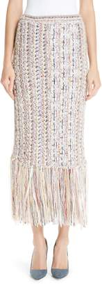 ADAM by Adam Lippes Fringe Hem Tweed Skirt