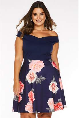 Quiz Curve Navy Floral Print Bardot Skater Dress