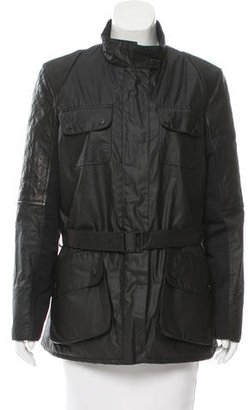 Barbour Leather Panel Belted Jacket $225 thestylecure.com