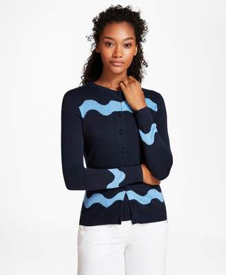 Brooks Brothers Wave-Pattern Silk-Cashmere Cardigan