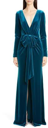 Badgley Mischka Bow Front Long Sleeve Velvet Gown