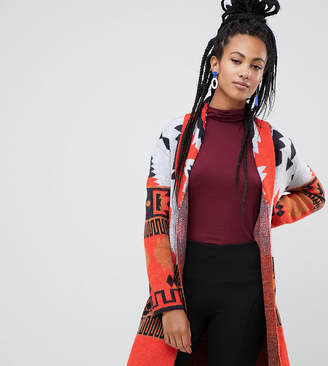 Esprit aztec print cardigan in red