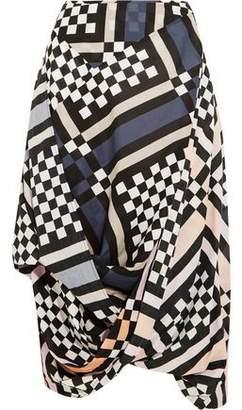 Vivienne Westwood Printed Draped Cotton-Poplin Midi Skirt