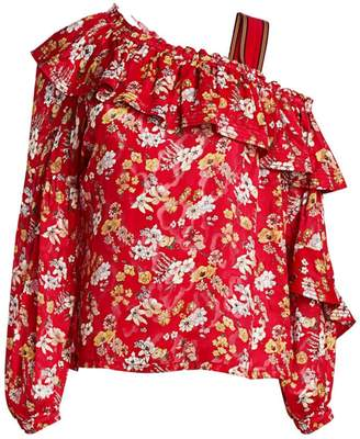 Derek Lam 10 Crosby Asymmetric Floral Silk-Blend Blouse