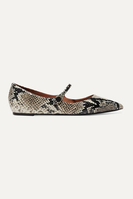 Tabitha Simmons Hermione Snake-effect Leather Point-toe Flats - Snake print