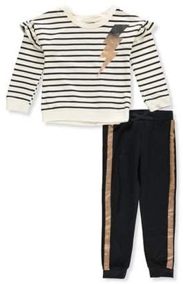 KidTopia Ruffle Sleeve Sweatshirt & Jogger Pants, 2pc Outfit Set (Toddler Girls)
