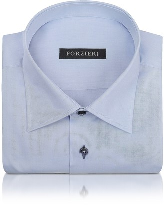 Forzieri Blue Twill Dress Shirt