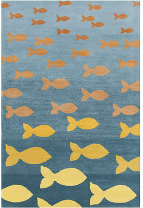 Zoomie Kids Blair Hand Tufted Wool Turquoise/Orange Area Rug