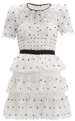 Self-Portrait Self Portrait Hibiscus Tiered Guipure Lace Mini Dress - Womens - Black White