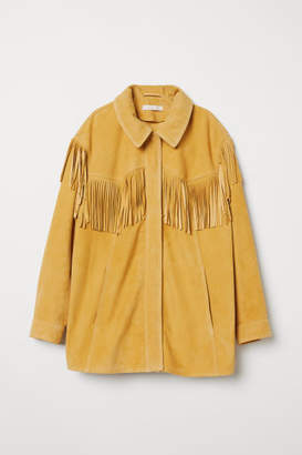 H&M Suede Jacket with Fringe - Yellow