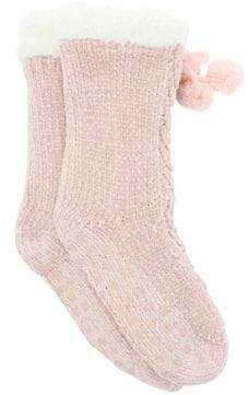 totes Chenille Cable-Knit Sherpa Slipper Socks