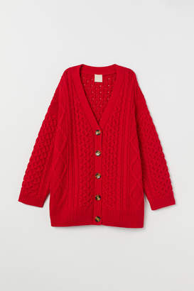 H&M Oversized Cable-knit Cardigan - Red