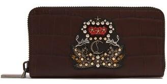 Christian Louboutin Embellished Crocodile Effect Wallet - Mens - Brown