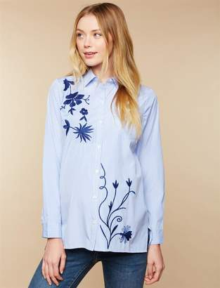 Motherhood Maternity Embroidered Button Front Maternity Shirt