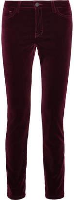 Maje Velvet Slim-leg Pants - Burgundy