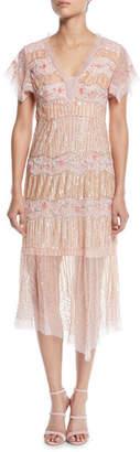 Nanette Lepore Jeweled V-Neck Pleated Dress