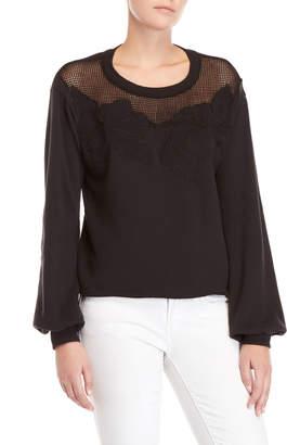 Nation Ltd. Mesh Floral Embroidered Sweatshirt