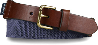 Ralph Lauren Webbed-Cotton and Leather Belt