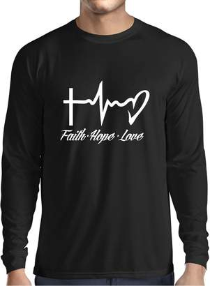 lepni.me Long Sleeve T Shirt Men Faith - Hope - Love - 1 Corinthians 13:13, Christian Quotes and Proverbs, Religious Sayings