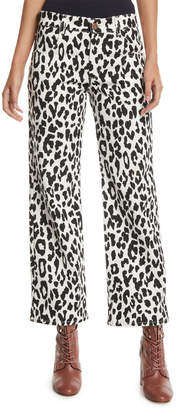 See by Chloe Mid-Rise Cropped Leopard-Print Jeans