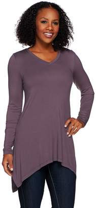 Logo By Lori Goldstein LOGO Layers by Lori Goldstein Knit Top with Side Slits and Asymmetric Hem