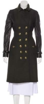 Burberry Virgin Wool & Leather Coat Olive Virgin Wool & Leather Coat
