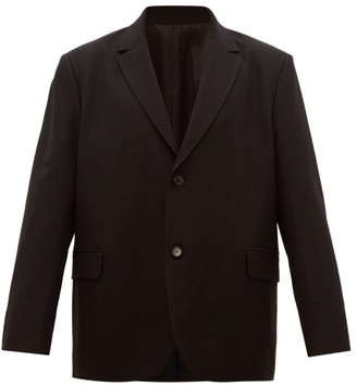 Loose Fit Single Breasted Wool Blazer - Mens - Black
