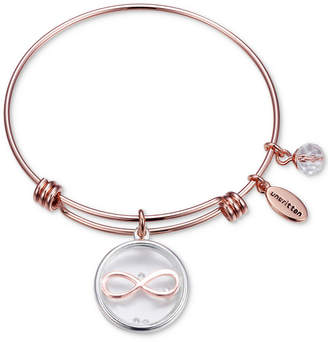 Unwritten Infinity Glass Shaker Charm Adjustable Bangle Bracelet in Rose Gold-Tone Stainless Steel