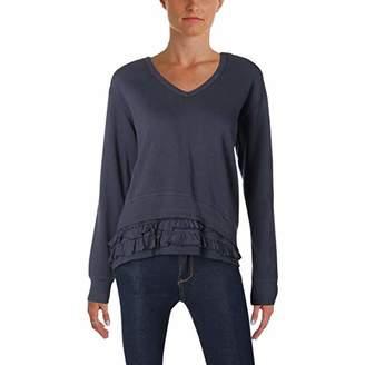 Wilt Women's v-Neck Sweatshirt Mock Ruffle Hem Detail