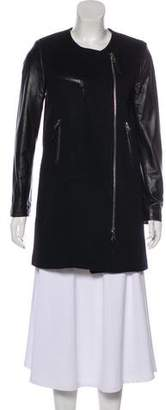 Milly Leather-Paneled Wool Coat