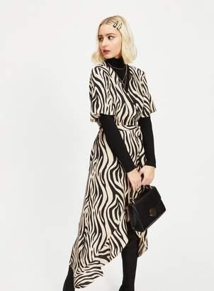 d65afdd81b Miss Selfridge Nude Zebra Print Wrap Midi Dress