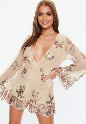 Missguided Rose Gold Sequin Flared Sleeve Romper