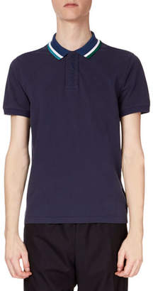 Kenzo Men's Placket Embroidered Striped-Collar Short-Sleeve Polo Shirt