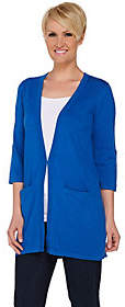 Joan Rivers Classics Collection Joan Rivers Wardrobe Builders Cardigan withTab Sleeve