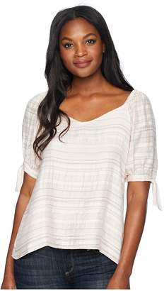 CeCe Puffed Sleeve Sweetheart Neck Blouse with Ties Women's Clothing