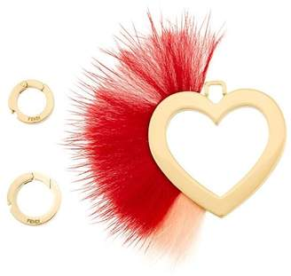Fendi heart and feather pendant