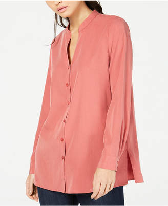 Eileen Fisher Split-Neck Tencel and Recycled Polyester Blouse, Regular & Petite