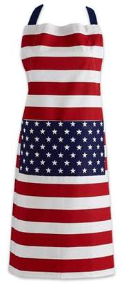 "Design Imports Flag Print Chino Chef Kitchen Apron, 32""x28"", 100% Cotton, Red, White, Blue"